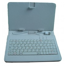 """KEYBAN Pouzdro na tablet 7"""", s klávesnicí, koženkové, USB micro, světle modré"""