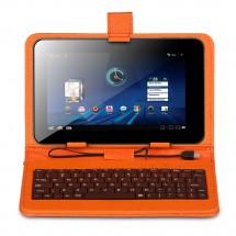 """KEYBAN Pouzdro na tablet 7"""", s klávesnicí, koženkové, USB micro, oranžové"""