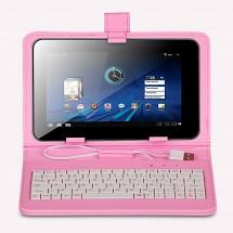 """KEYBAN Pouzdro na tablet 7"""", s klávesnicí, koženkové, USB micro, světle růžové"""