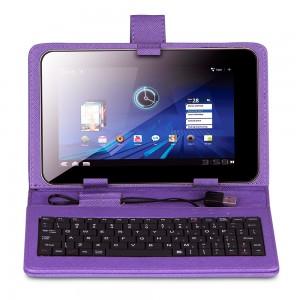 """KEYBAN Pouzdro na tablet 7"""", s klávesnicí, koženkové, USB micro, fialové"""
