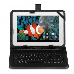 "KEYBAN Pouzdro na tablet 10 - 10.1"", s klávesnicí, koženkové, USB micro, černé"
