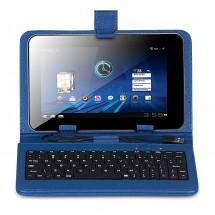 "KEYBAN Pouzdro na tablet 8"", s klávesnicí, koženkové, USB micro, modré"